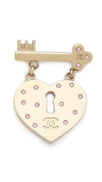 What Goes Around Comes Around Vintage Chanel Key Heart Brooch