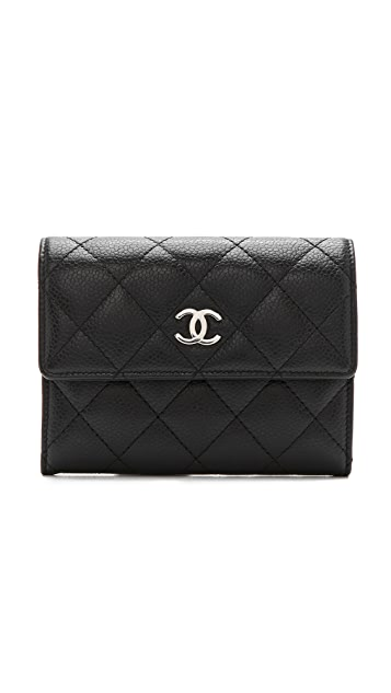 What Goes Around Comes Around Vintage Chanel Black Caviar Quilt Wallet