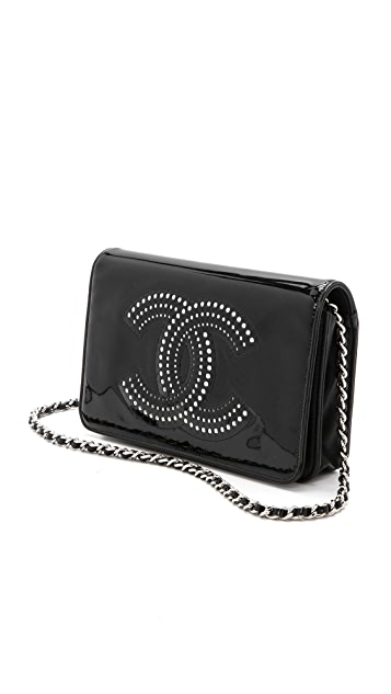 What Goes Around Comes Around Vintage Chanel Black Patent Chain Wallet