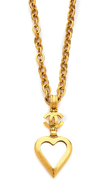 What Goes Around Comes Around Vintage Chanel Heart Mirror Necklace
