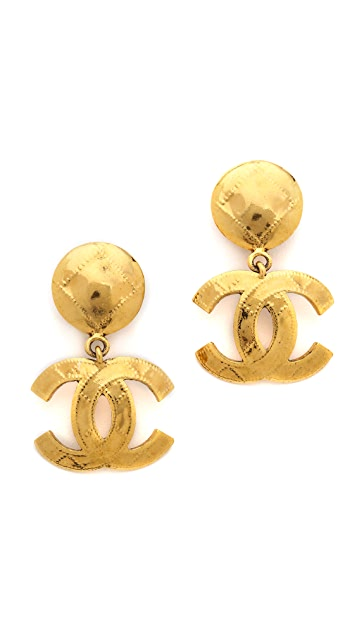 What Goes Around Comes Around Vintage Chanel Quilted CC Clip On Earrings