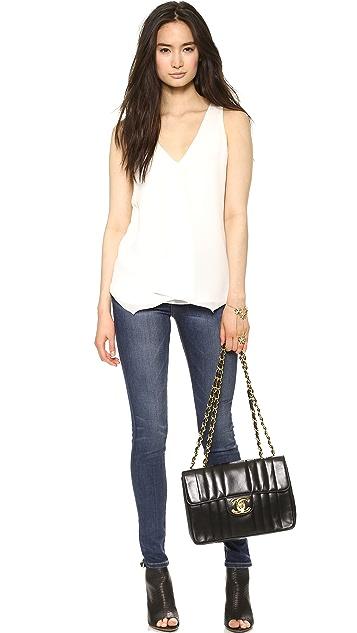 What Goes Around Comes Around Chanel Vert Stitch Jumbo Bag