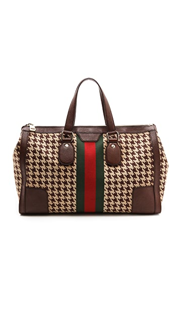 What Goes Around Comes Around Gucci Houndstooth Stripe Travel Bag