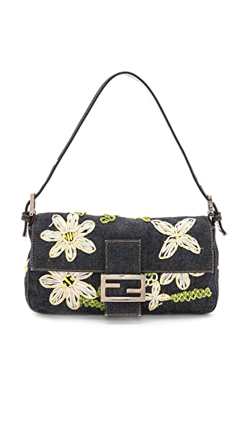 9a0ae6a3eb18 What Goes Around Comes Around Fendi Denim Floral Baguette Bag