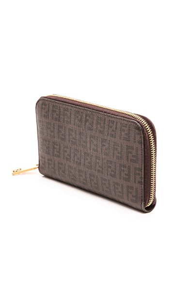 What Goes Around Comes Around Fendi Mini Zucca Zip Wallet (Previously Owned)