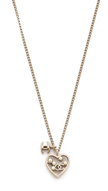 What Goes Around Comes Around Vintage Chanel Heart Necklace