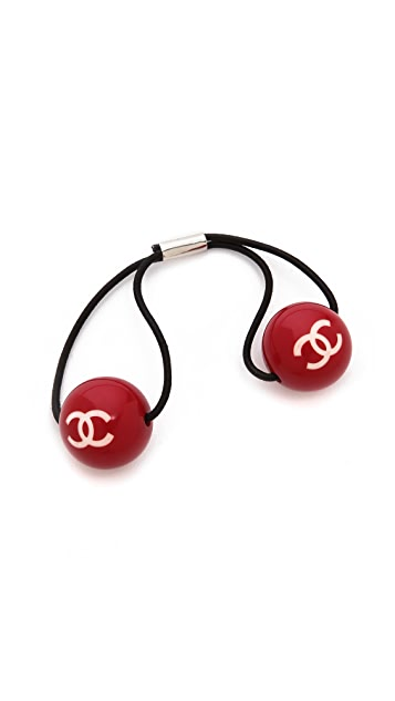What Goes Around Comes Around Vintage Chanel CC Ball Hair Tie