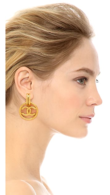 What Goes Around Comes Around Vintage Chanel Rope Twist CC Earrings