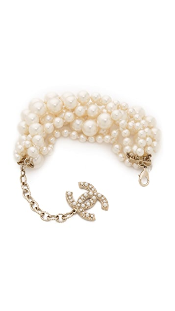 What Goes Around Comes Around Chanel 6 Strand Imitation Pearl Bracelet (Previously Owned)