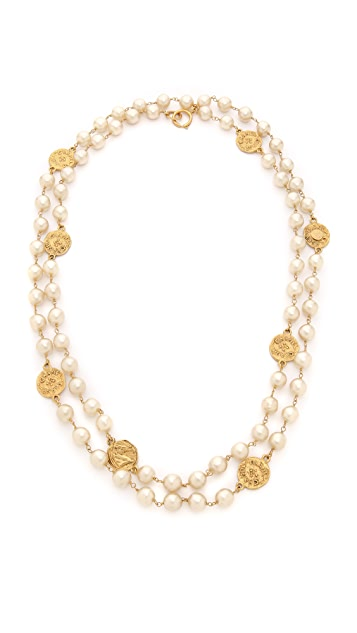What Goes Around Comes Around Chanel Imitation Pearl Necklace with Coins (Previously Owned)
