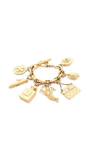 What Goes Around Comes Around Turtle Cupid Charm Bracelet (Previously Owned)