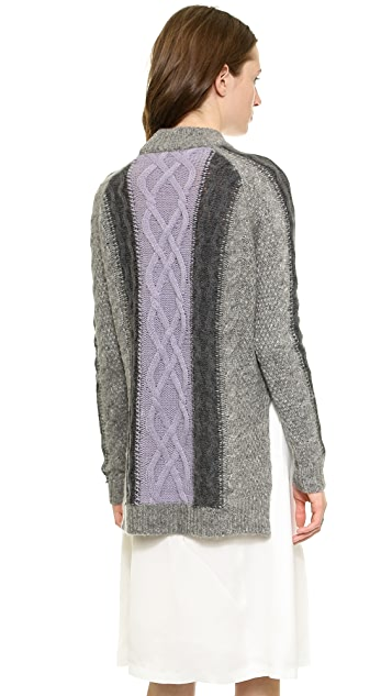 Whistles Akira Colorblock Cable Sweater