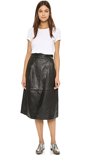 top quality wholesale online hot new products Whistles Wrap Leather Midi Skirt | SHOPBOP