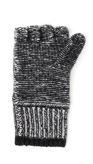White + Warren Marled Pop Top Cashmere Gloves