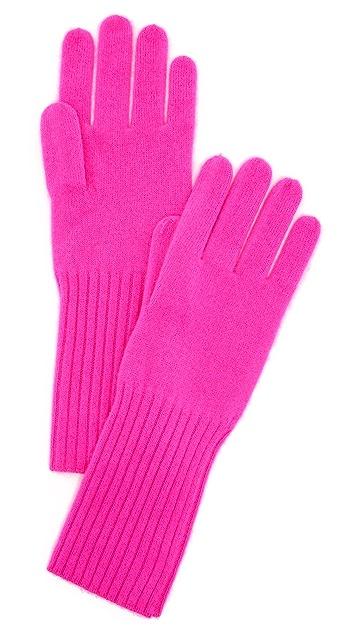 White + Warren Cashmere Rib Trim Gloves