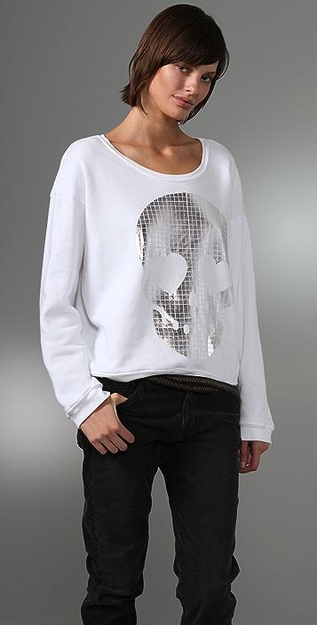 Wildfox Metal Skull Oversized Sweatshirt