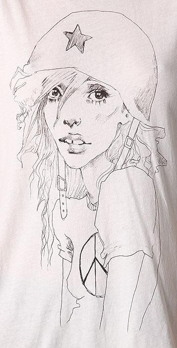 Wildfox Anti War Girl Hippie Crew Neck Tee