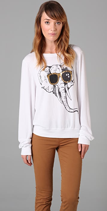 Wildfox Elephant Love Baggy Beach Sweatshirt