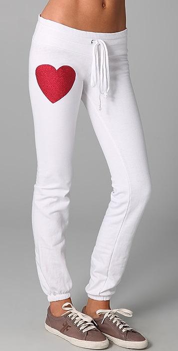 Wildfox Sparkle Heart Skinny Sweatpants