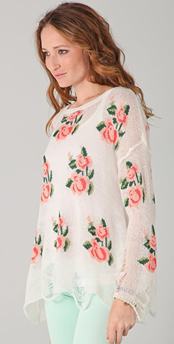 Wildfox Wildfox White Label Prairie Rose Sweater