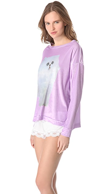 Wildfox Cloud Kitten Pajama Top