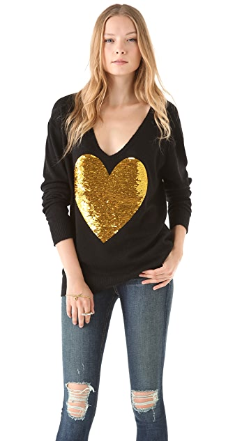 Wildfox Sequin Heart Sweater