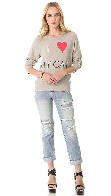 Wildfox I Love My Cat Baggy Beach Sweatshirt