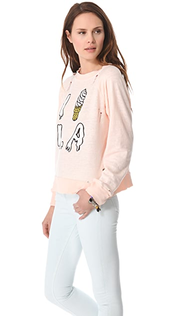 Wildfox I Scream L.A. Destroyed Sweatshirt