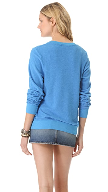 Wildfox Skip School V Neck Baggy Beach Sweatshirt