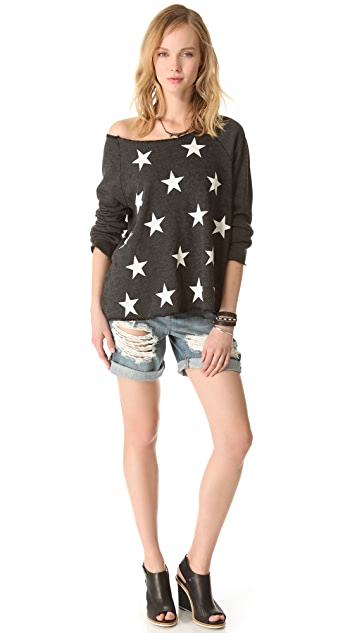 Wildfox Jazzercise Stars Off the Shoulder Top