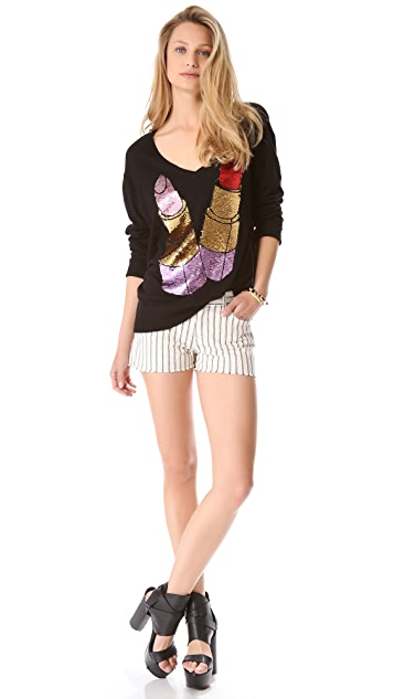 Wildfox Sequin Lipstick Sweater