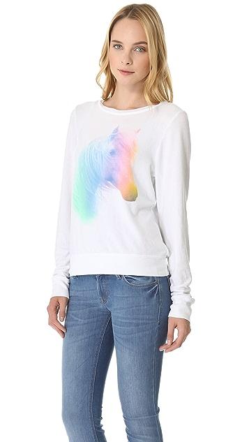 Wildfox Horse & Rainbow Baggy Beach Sweatshirt