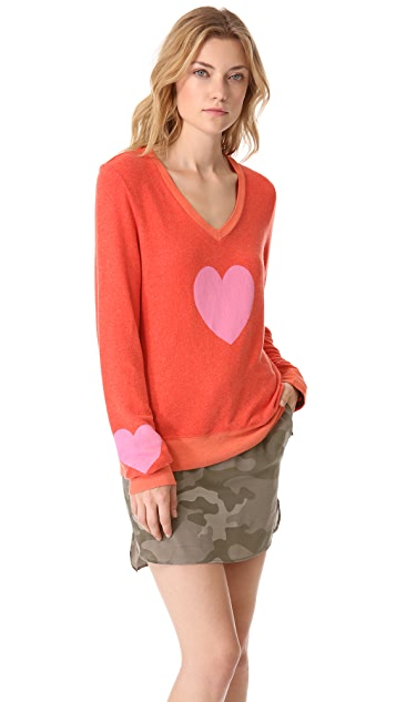 Wildfox Happy Heart Baggy Beach Sweatshirt