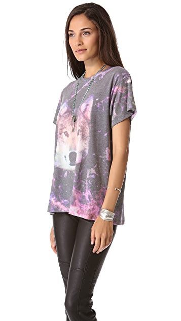 Wildfox Night Wolf Oversized Tee