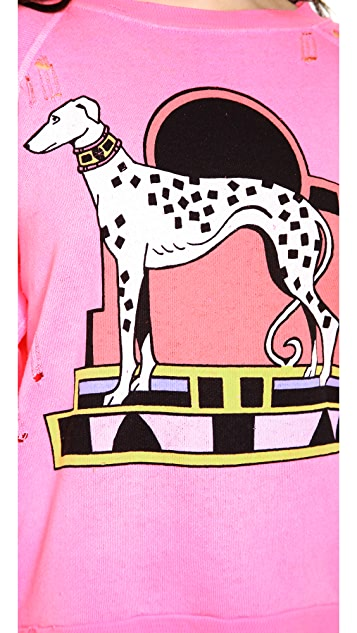 Wildfox Neon Nouveau Dalmatian Destroyed Sweater