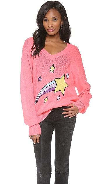 Wildfox Shooting Star V Neck Sweatshirt
