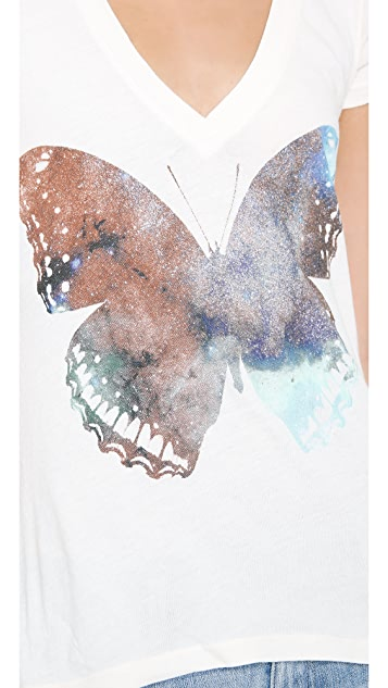 Wildfox Galaxy Butterfly V Neck Tee