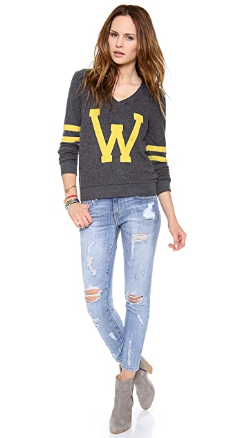 Wildfox Letterman Baggy Beach Sweatshirt