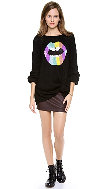 Wildfox Psychedelic Lips Sweater