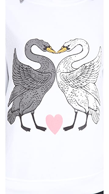 Wildfox Kissing Swans Baggy Beach Sweatshirt