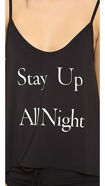Wildfox Stay Up All Night & Sleep All Day PJ Set