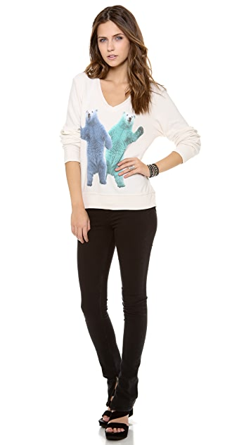 Wildfox Hello Polar Bears Baggy Beach Sweatshirt