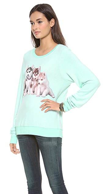 Wildfox Little Huskies Baggy Beach Sweatshirt