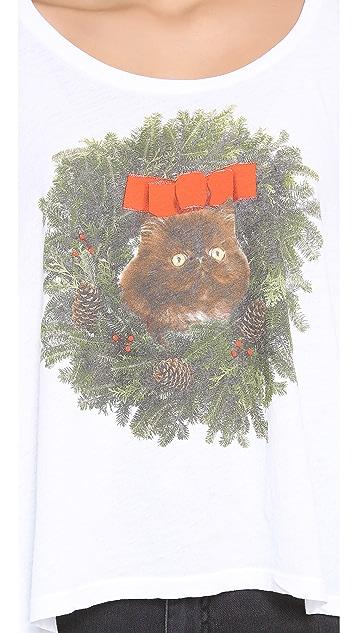 Wildfox Kitty Wreath Long Sleeve Top