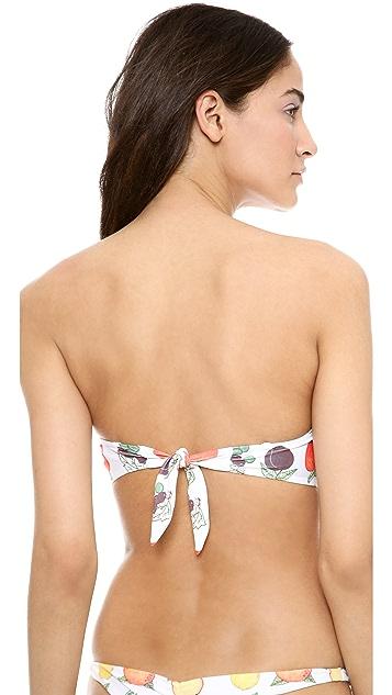 Wildfox Fruit Punch Ruched Bandeau Bikini Top