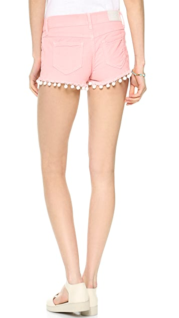 Wildfox Lara Mid Rise Cutoff Shorts with Pom Poms