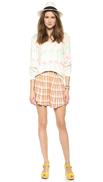 Wildfox Pastel Palms Baggy Beach V Neck
