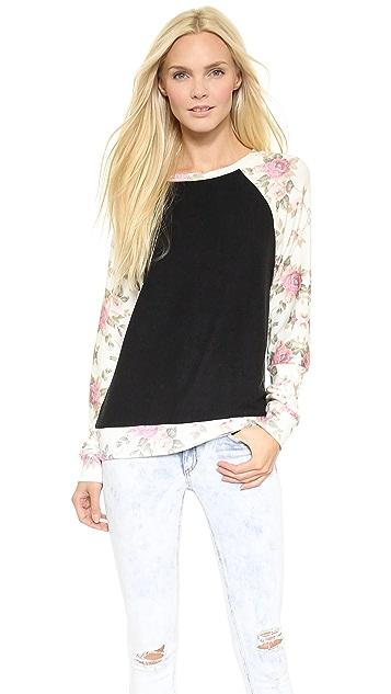 Wildfox Black Rose Sleeves Sweatshirt