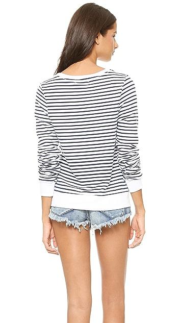 Wildfox Stripe Baggy Beach Sweatshirt