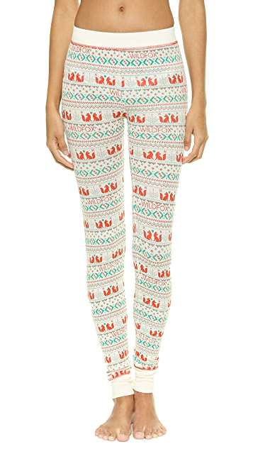 Wildfox Ski Bunny Fox Print PJ Set